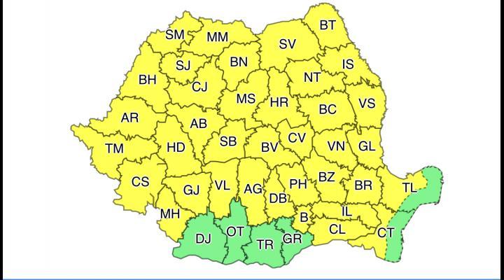 Cod galben de instabilitate atmosferică temporar accentuată, cantități de apă însemnate, in Prahova