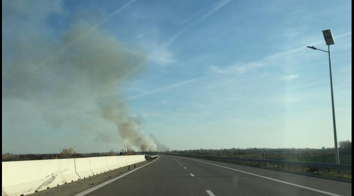VIDEO EXCLUSIV: Incendiu puternic langa Autostrada A3