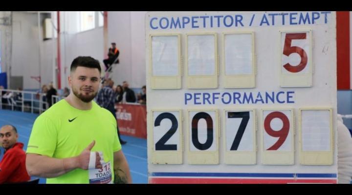 """Atletul Rareş Toader, campion naţional la aruncarea greutăţii, cu """"personal best"""""""