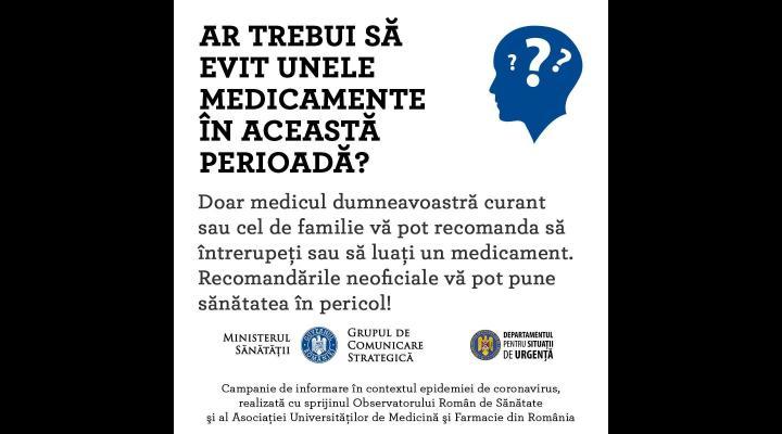 Medicul dumneavoastră este cel mai în măsură să decidă ce medicamente puteți sau nu puteți lua în contextul epidemiei de coronavirus