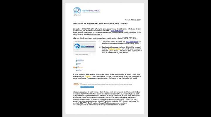 Hidro Prahova anunta lansarea serviciului de plata online a facturilor de apa si canalizare