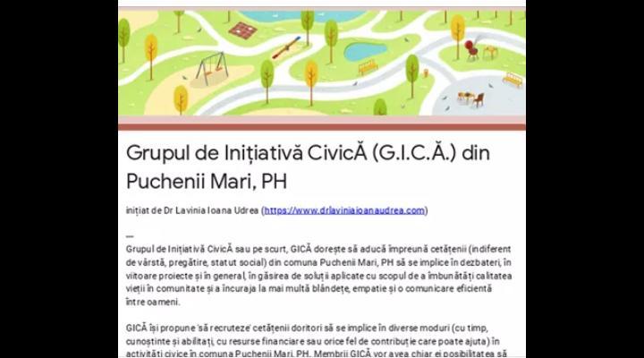 Cetatenii din Puchenii Mari, invitati sa se implice oficial in rezolvarea problemelor din comunitate, prin Grupul de Inițiativă CivicĂ lansat recent - G.I.C.Ă.