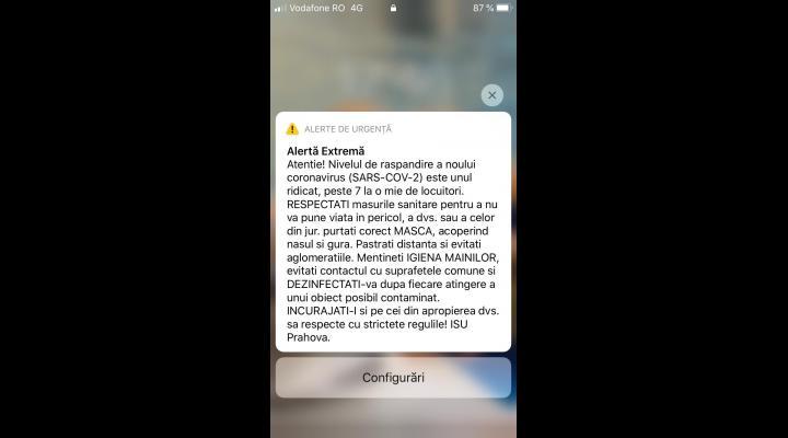 ISU PRAHOVA  a trimis mesaj RO-Alert către 27 de localități