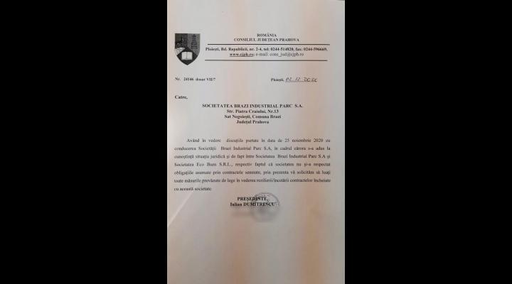"""Iulian Dumitrescu, președintele Consiliului Județean Prahova: """"Am cerut rezilierea contractelor încheiate de Parcul Industrial Brazi cu ECO Burn SRL"""""""