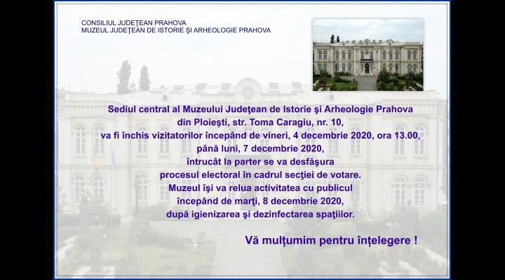 Sediul central al Muzeului Judeţean de Istorie şi Arheologie Prahova, închis vizitatorilor de vineri până luni