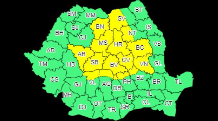 Cod galben de ploi în nordul județului Prahova