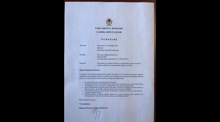 Ce l-a întrebat oficial Cătălina Bozianu, deputat PMP, pe ministrul Educației. Are legătură cu județul Prahova