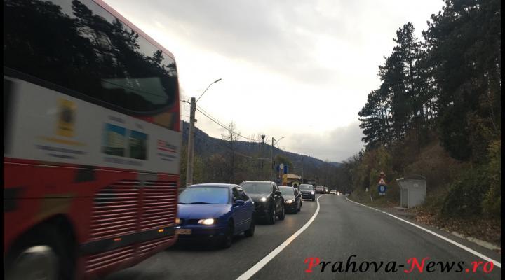 Se circula cu 20km/h pe anumite portiuni din DN1, pe Valea Prahovei, spre capitala