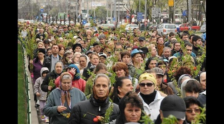 Procesiune în Sâmbăta Floriilor, la Ploiești