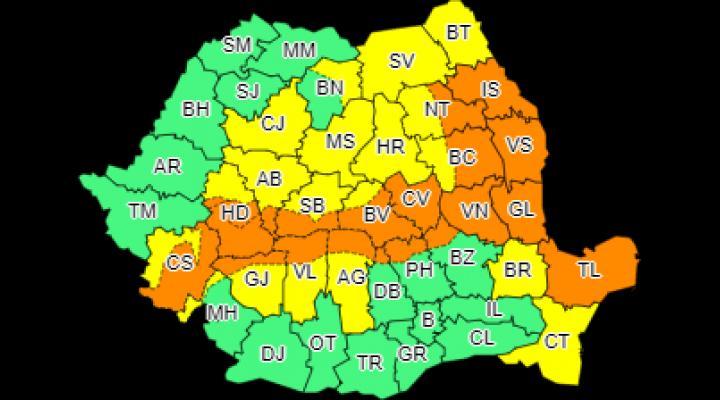 Avertizare de cod portocaliu pentru nordul judetului Prahova