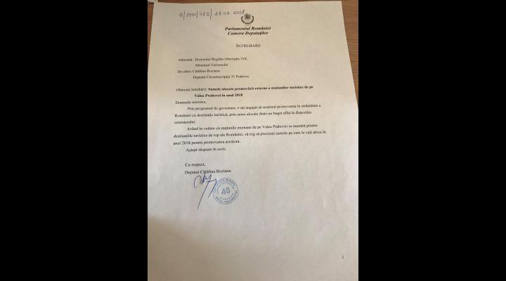 Deputatul PMP Cătălina Bozianu vrea sa afle de la Ministrul Turismului ce sume se vor aloca pentru promovarea in strainatate a statiunilor de pe Valea Prahovei
