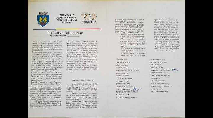 """Consilierii locali ai Partidului Mișcarea Populară din Ploiești au depus propunerea de """"Declarație de reunire a României cu Republica Moldova"""