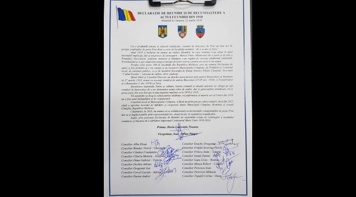 S-au semnat noi declaratii de Reunire cu Republica Moldova, in Prahova