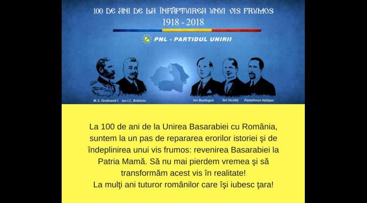 Senatorul PNL - Iulian Dumitrescu: La 100 de ani de la unirea Basarabiei cu România, suntem la un pas de repararea erorilor istoriei