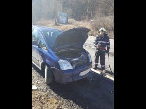 Incendiu la o mașină, pe DN 1, în Sinaia