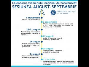A doua sesiune a examenului național de Bacalaureat 2020 se va desfășura în perioada 24 august – 5 septembrie