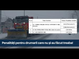 Penalități pentru drumarii din Prahova care nu și-au făcut treaba când a nins