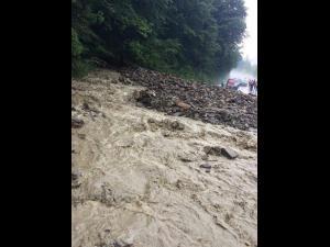 Aluviuni și copaci căzuți pe DN 1A. Traficul este blocat (GALERIE FOTO)