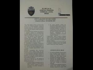 """Declarația de reunire cu Republica Moldova"", votata si la Brazi"