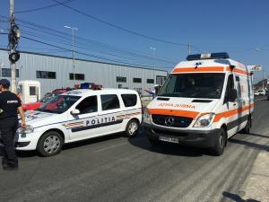 Accident la Sinaia. O persoana care traversa pe trecere, ranita