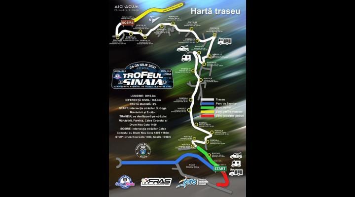 """Circulație închisă pe mai multe străzi din Sinaia, în contextul concursului de automobilism sportiv """"Trofeul Sinaia 2021- Campionatul Național de Viteză în Coastă"""""""