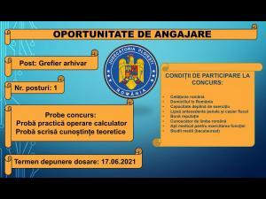 Post de grefier arhivar la Judecătoria Ploiești, scos la concurs